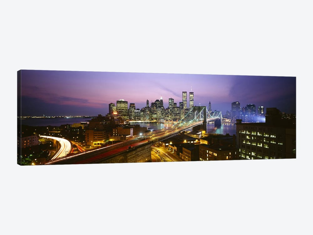 Buildings lit up at night, World Trade Center, Manhattan, New York City, New York State, USA by Panoramic Images 1-piece Canvas Artwork
