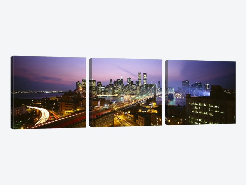 Buildings lit up at night, World Trade Center, Manhattan, New York City, New York State, USA by Panoramic Images 3-piece Canvas Wall Art