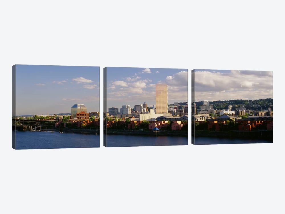 Buildings on the waterfront, Portland, Oregon, USA #3 by Panoramic Images 3-piece Canvas Wall Art