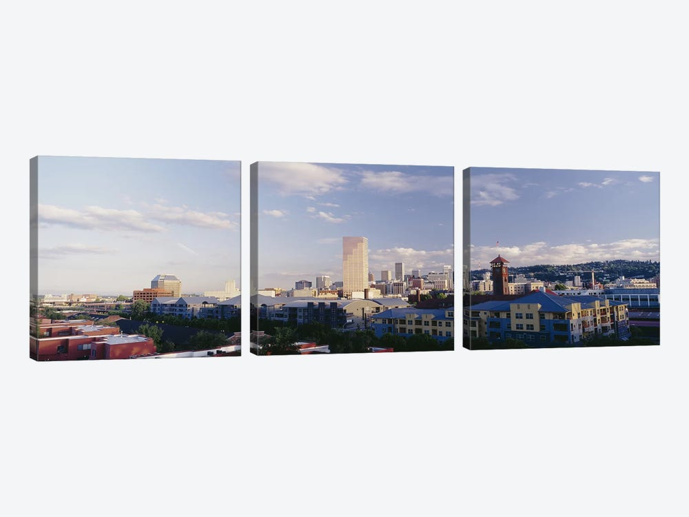 High angle view of buildings in a city, Portland, Oregon, USA by Panoramic Images 3-piece Canvas Print