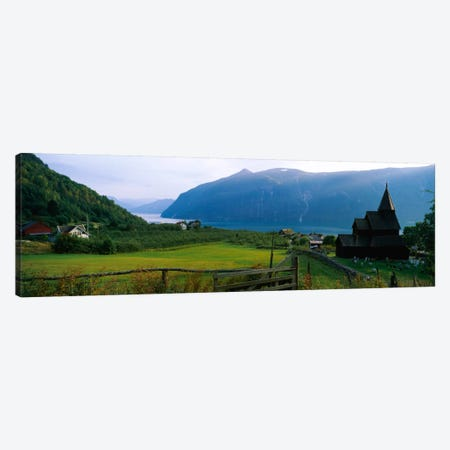 Church in a village, Urnes stave church, Lustrafjorden, Luster, Sogn Og Fjordane, Norway Canvas Print #PIM315} by Panoramic Images Art Print
