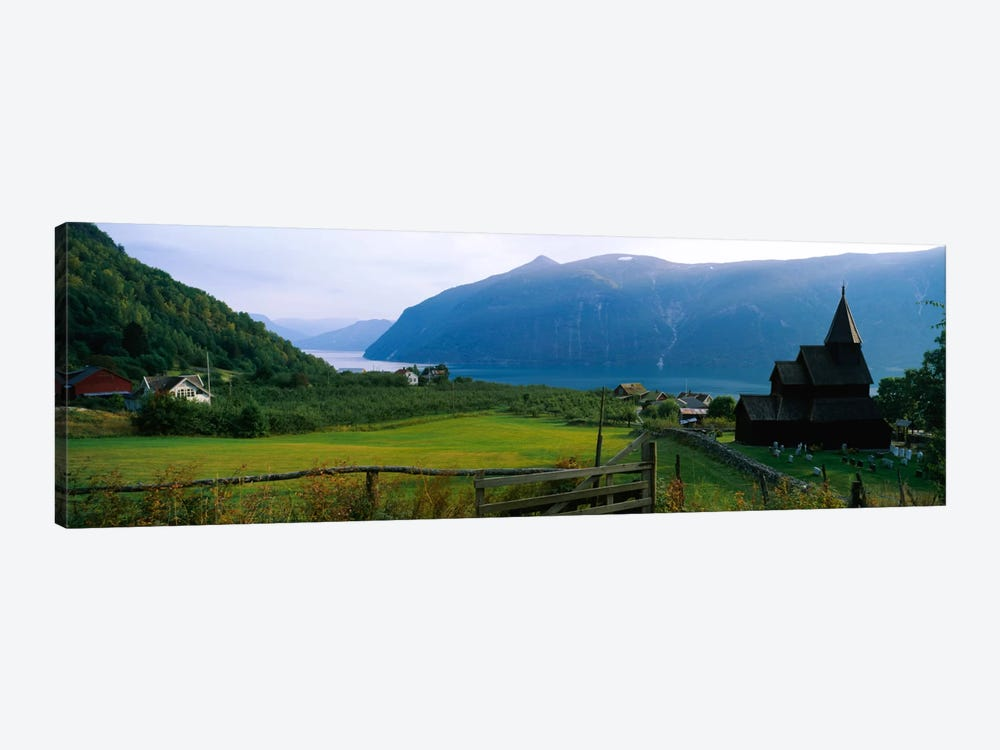 Church in a village, Urnes stave church, Lustrafjorden, Luster, Sogn Og Fjordane, Norway by Panoramic Images 1-piece Canvas Art
