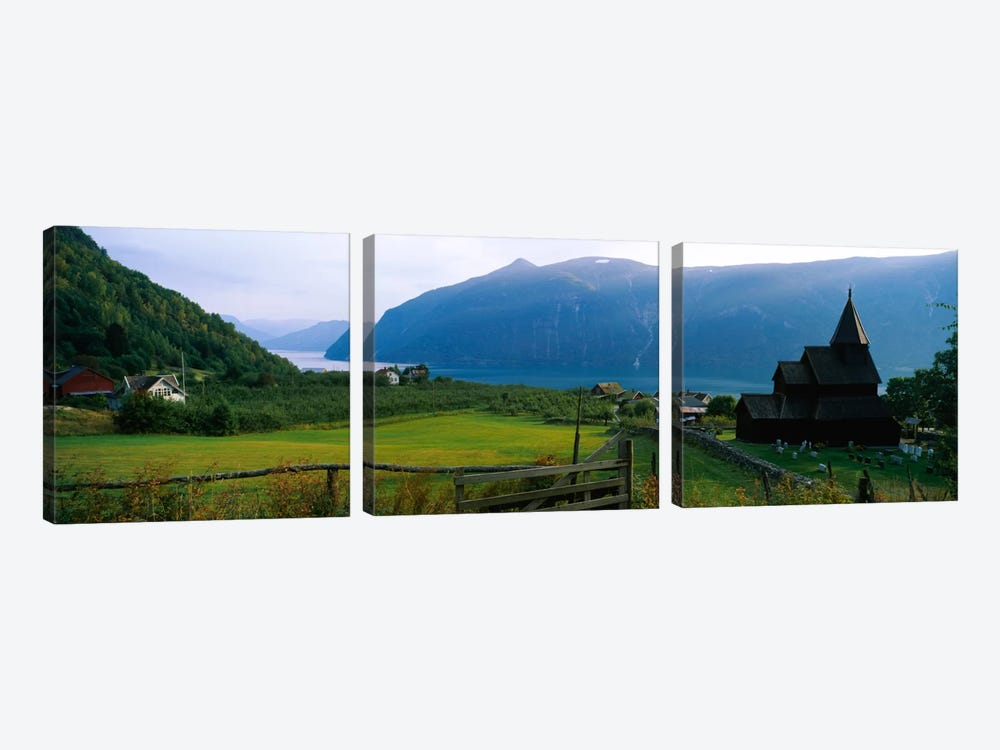 Church in a village, Urnes stave church, Lustrafjorden, Luster, Sogn Og Fjordane, Norway by Panoramic Images 3-piece Canvas Art