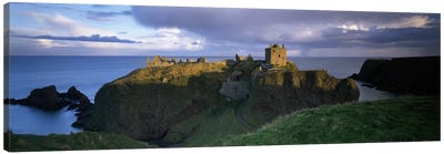 High-Angle View Of Dunnottar Castle, Near Stonehaven, Scotland, United Kingdom Canvas Art Print