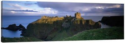 High-Angle View Of Dunnottar Castle, Near Stonehaven, Scotland, United Kingdom Canvas Art Print