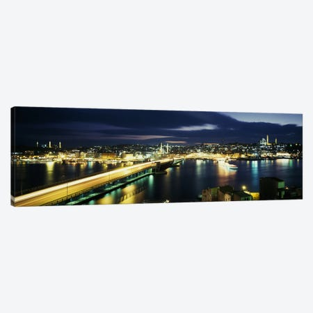 Galata Bridge At Night, Istanbul, Turkey Canvas Print #PIM3163} by Panoramic Images Canvas Print