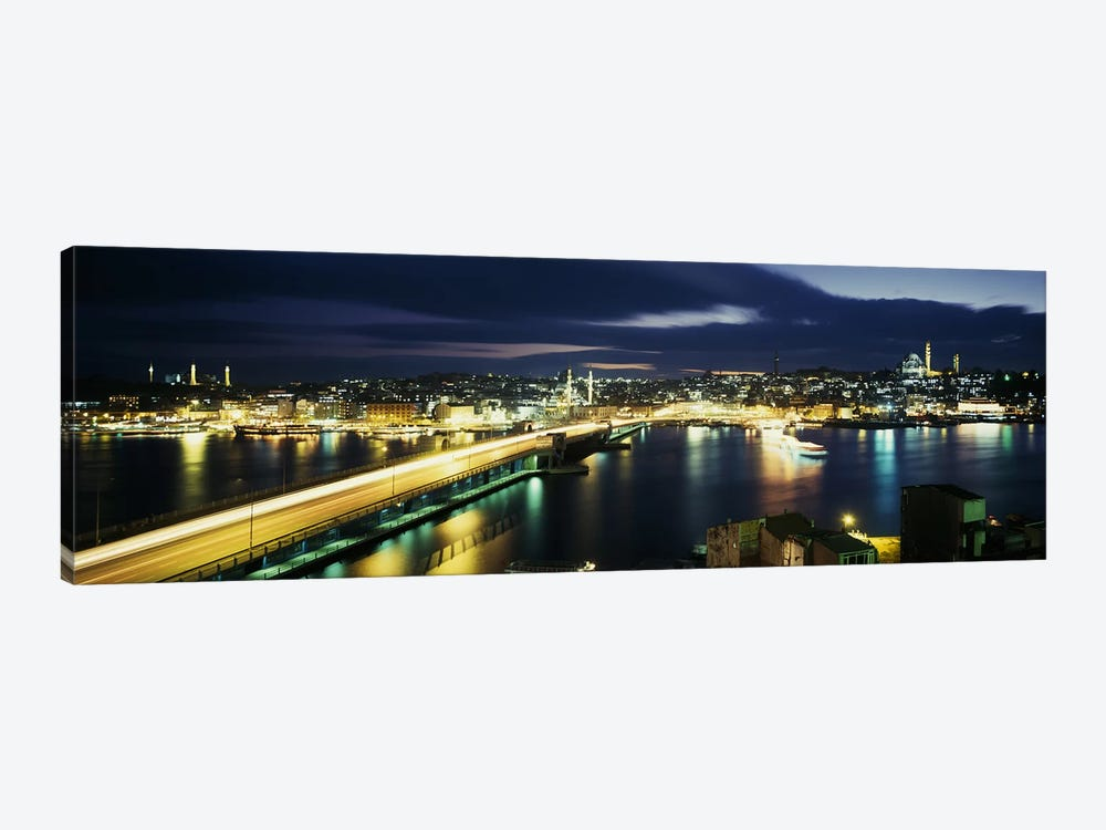 Galata Bridge At Night, Istanbul, Turkey by Panoramic Images 1-piece Canvas Wall Art