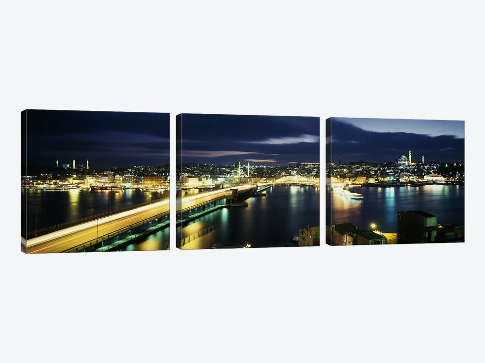 Galata Bridge At Night, Istanbul, Turkey by Panoramic Images 3-piece Canvas Art