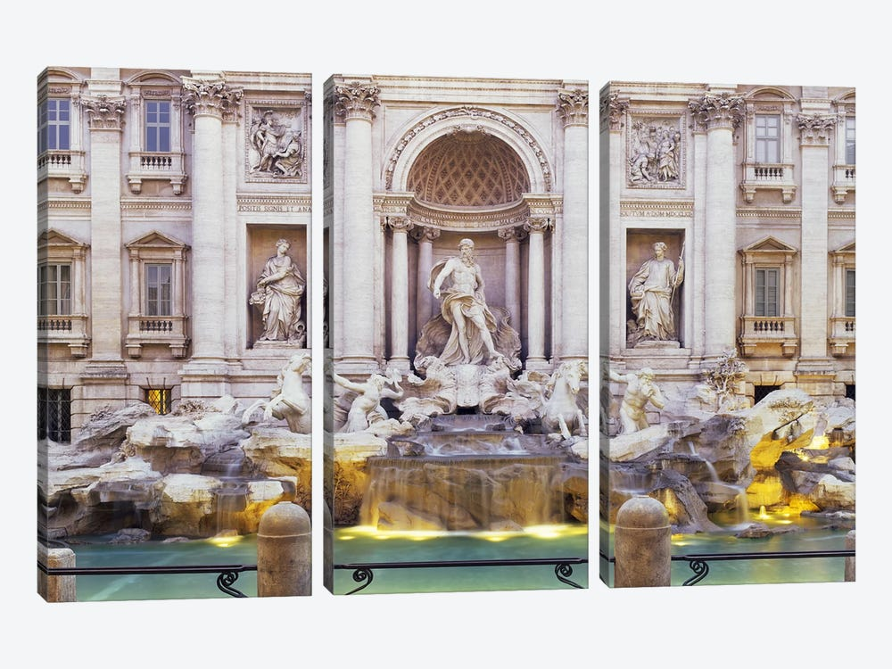 Trevi Fountain Rome Italy by Panoramic Images 3-piece Canvas Artwork