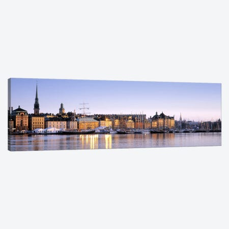 Waterfront, Skeppsbron, Old Town (Gamla stan), Stockholm, Sweden Canvas Print #PIM3177} by Panoramic Images Art Print