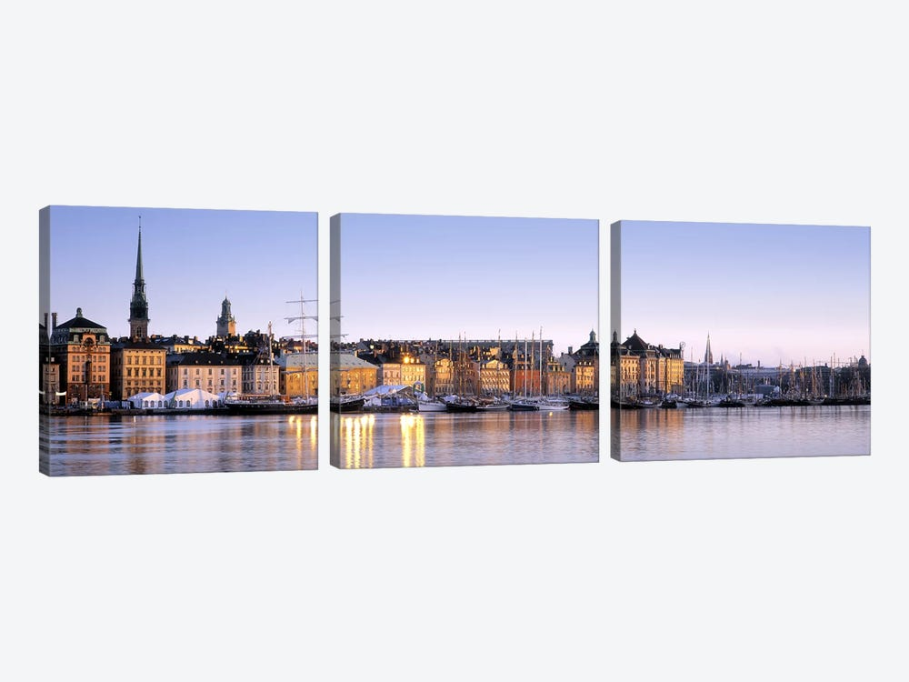 Waterfront, Skeppsbron, Old Town (Gamla stan), Stockholm, Sweden by Panoramic Images 3-piece Canvas Print