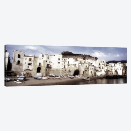 Seafront Architecture, Cefalu, Palermo, Sicily, Italy Canvas Print #PIM3182} by Panoramic Images Art Print