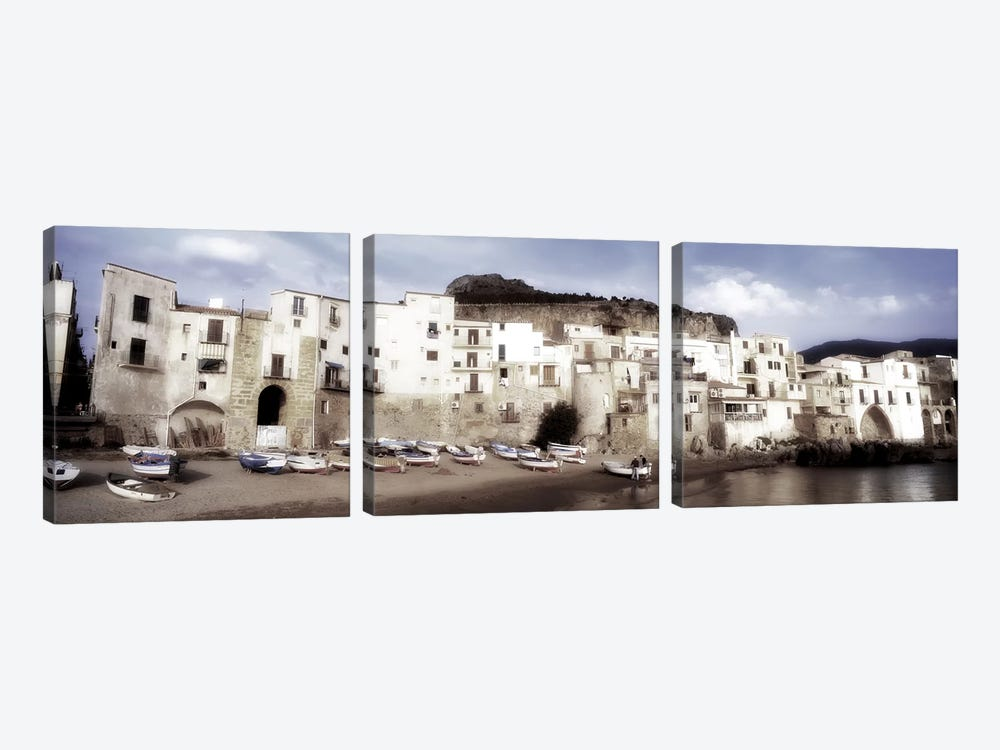 Seafront Architecture, Cefalu, Palermo, Sicily, Italy by Panoramic Images 3-piece Canvas Art Print