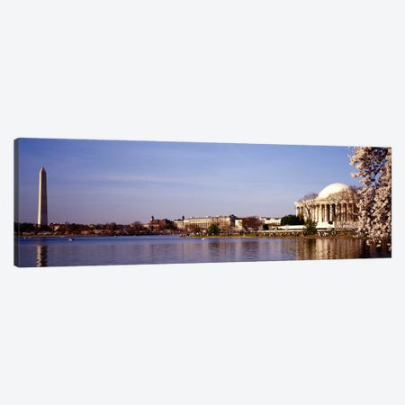 USA, Washington DC, Washington Monument and Jefferson Memorial, Tourists outside the memorial Canvas Print #PIM3188} by Panoramic Images Canvas Art Print