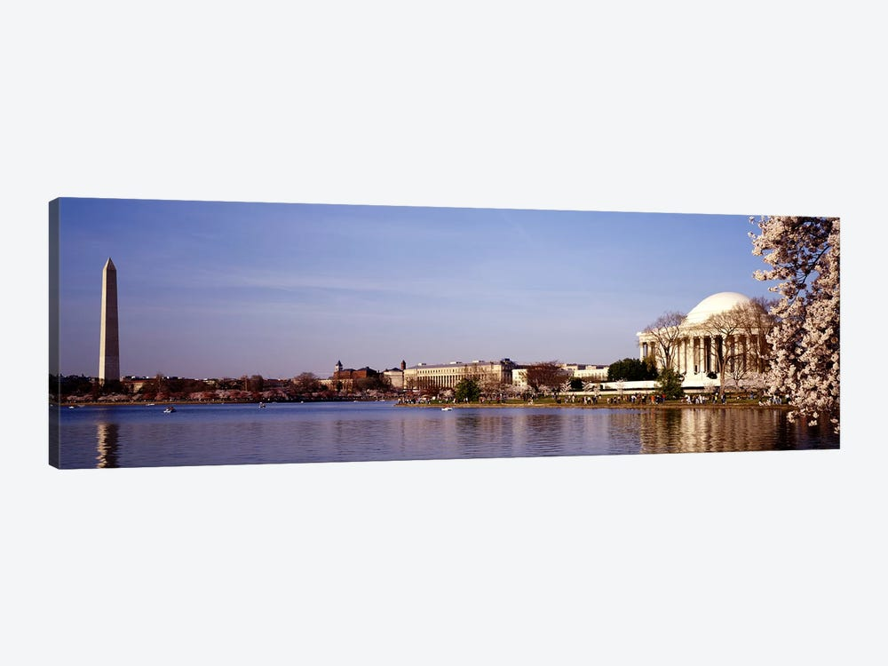 USA, Washington DC, Washington Monument and Jefferson Memorial, Tourists outside the memorial by Panoramic Images 1-piece Canvas Art Print