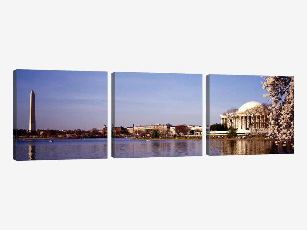 USA, Washington DC, Washington Monument and Jefferson Memorial, Tourists outside the memorial by Panoramic Images 3-piece Art Print