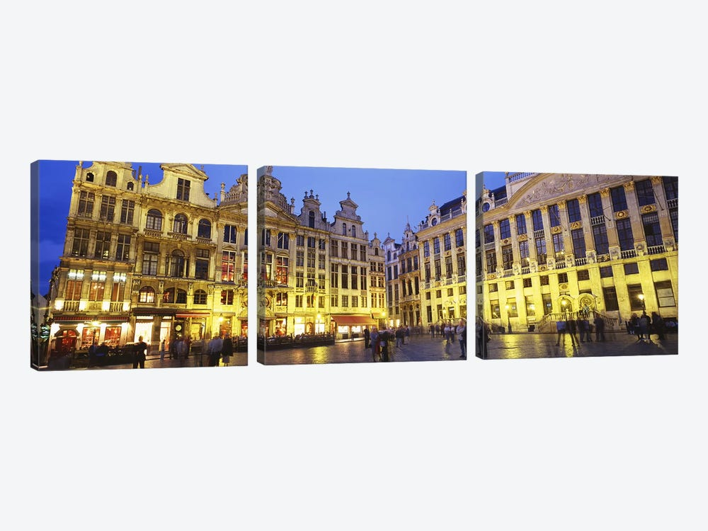 Grand Place (Grote Markt) At Night, Brussels, Belgium by Panoramic Images 3-piece Canvas Artwork