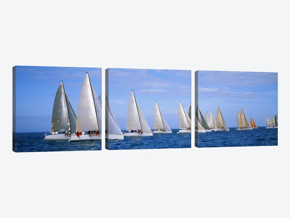 Yachts in the oceanKey West, Florida, USA 3-piece Canvas Artwork