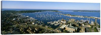 Aerial View Of Newport Harbor, Newport, Rhode Island, USA Canvas Art Print