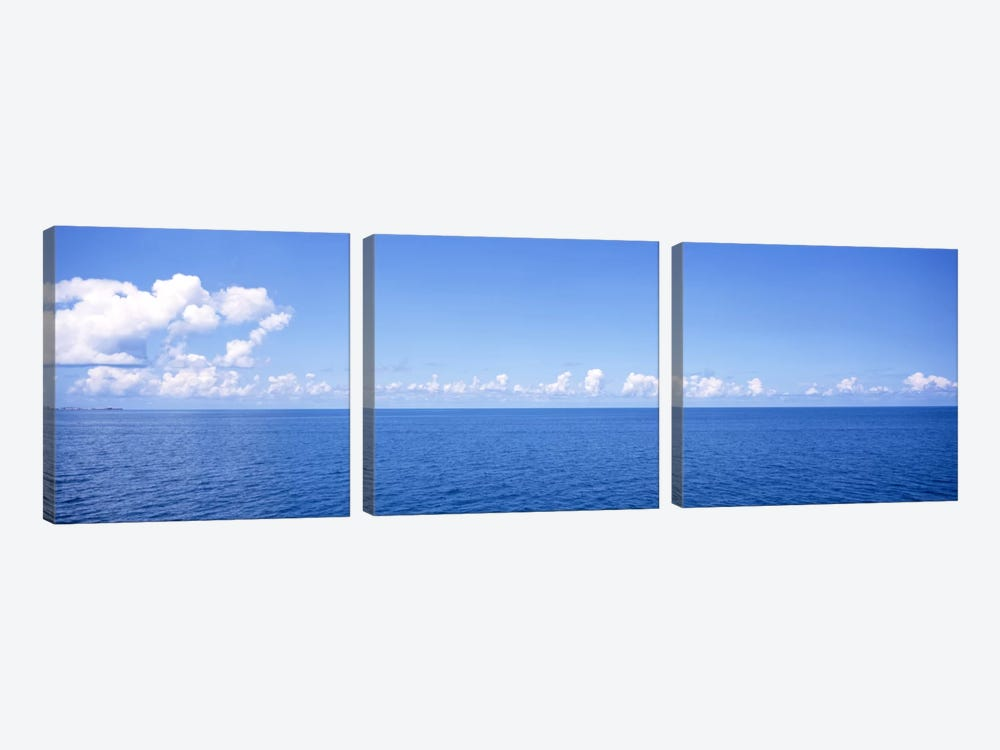 Cloudy Seascape, Atlantic Ocean, Bermuda by Panoramic Images 3-piece Canvas Wall Art