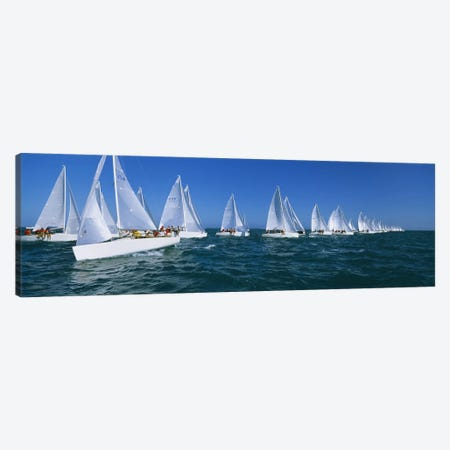 Sailboat racing in the ocean, Key West, Florida, USA Canvas Print #PIM3204} by Panoramic Images Canvas Print