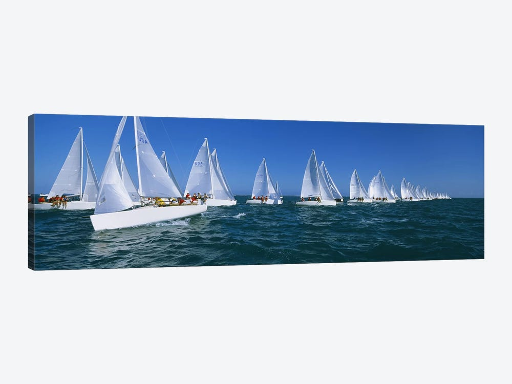 Sailboat racing in the ocean, Key West, Florida, USA by Panoramic Images 1-piece Canvas Print