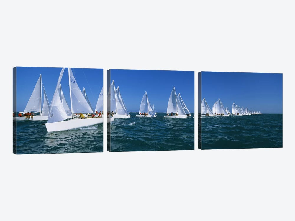 Sailboat racing in the ocean, Key West, Florida, USA by Panoramic Images 3-piece Art Print