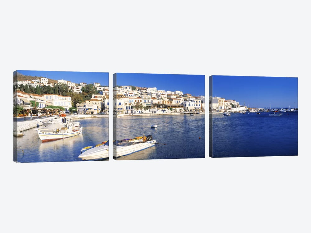 Waterfront Architecture, Batsi, Andros, Cyclades, Greece 3-piece Canvas Artwork