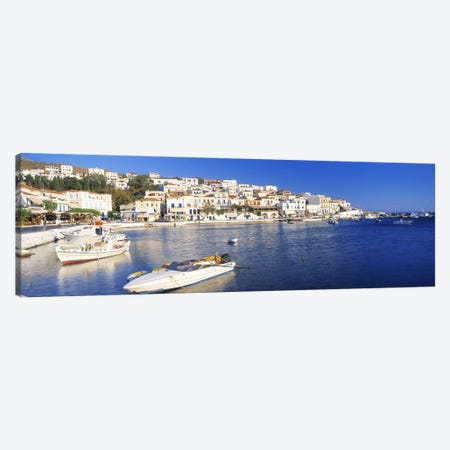 Waterfront Architecture, Batsi, Andros, Cyclades, Greece 3-Piece Canvas #PIM3205} by Panoramic Images Canvas Art Print