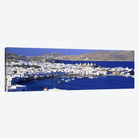 High-Angle View Of Old Mikonos City, Mykonos, Cyclades, Greece Canvas Print #PIM3209} by Panoramic Images Canvas Wall Art