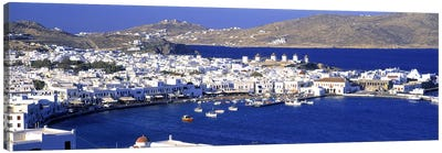 High-Angle View Of Old Mikonos City, Mykonos, Cyclades, Greece Canvas Art Print
