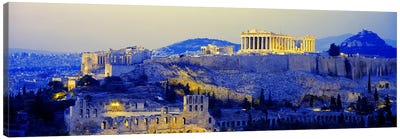 An Illuminated Acropolis At Dusk, Athens, Greece Canvas Art Print