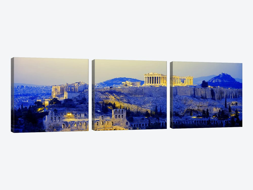 An Illuminated Acropolis At Dusk, Athens, Greece 3-piece Canvas Wall Art