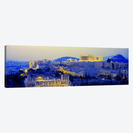 An Illuminated Acropolis At Dusk, Athens, Greece 3-Piece Canvas #PIM3212} by Panoramic Images Art Print