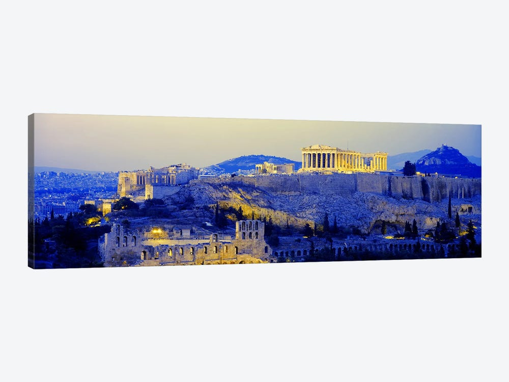 An Illuminated Acropolis At Dusk, Athens, Greece 1-piece Canvas Wall Art