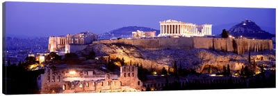 Acropolis Of Athens At Night, Athens, Attica Region, Greece Canvas Art Print