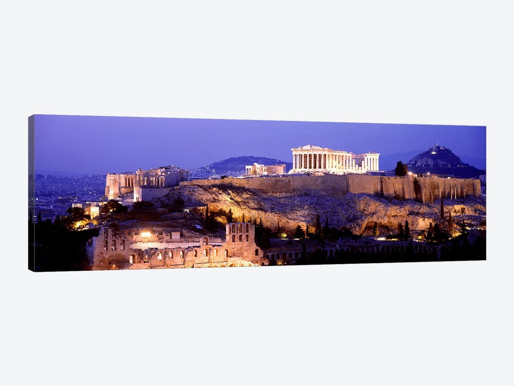 Acropolis Of Athens At Night, Athens, Attica Region, Greece by Panoramic Images 1-piece Canvas Artwork