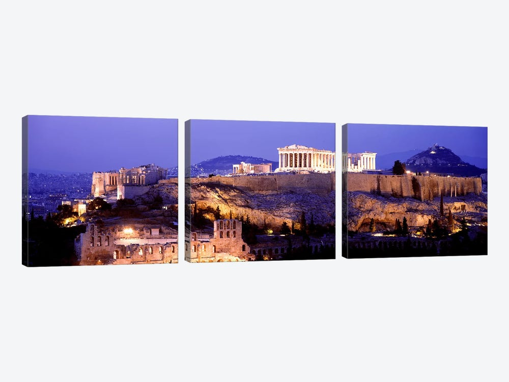 Acropolis Of Athens At Night, Athens, Attica Region, Greece by Panoramic Images 3-piece Canvas Art
