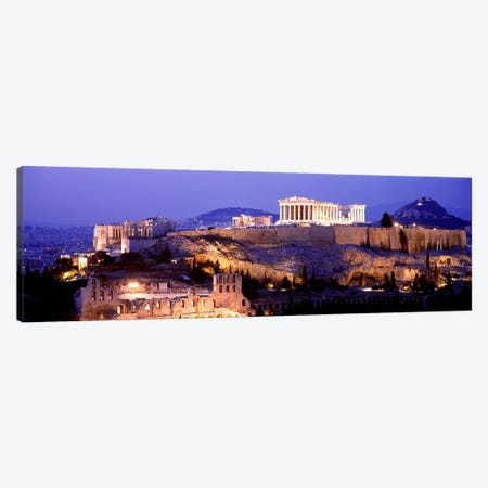 Acropolis Of Athens At Night, Athens, Attica Region, Greece Canvas Print #PIM3214} by Panoramic Images Canvas Art