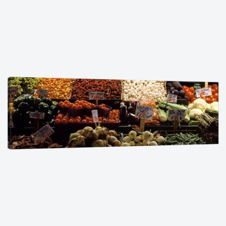 Fruits and vegetables at a market stall, Pike Place Market, Seattle, King County, Washington State, USA Canvas Print #PIM321} by Panoramic Images Art Print