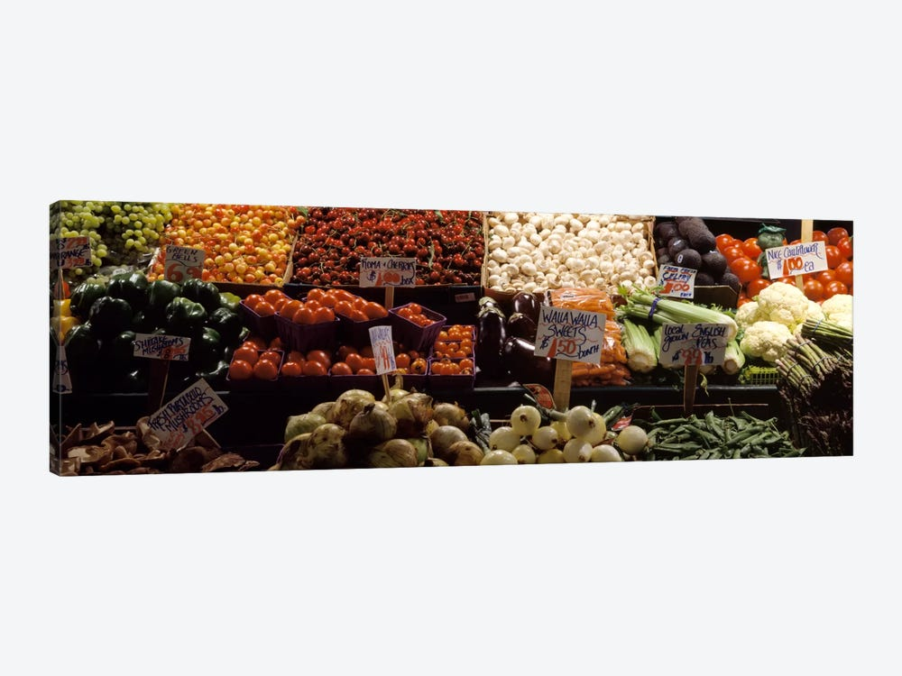 Fruits and vegetables at a market stall, Pike Place Market, Seattle, King County, Washington State, USA by Panoramic Images 1-piece Canvas Print