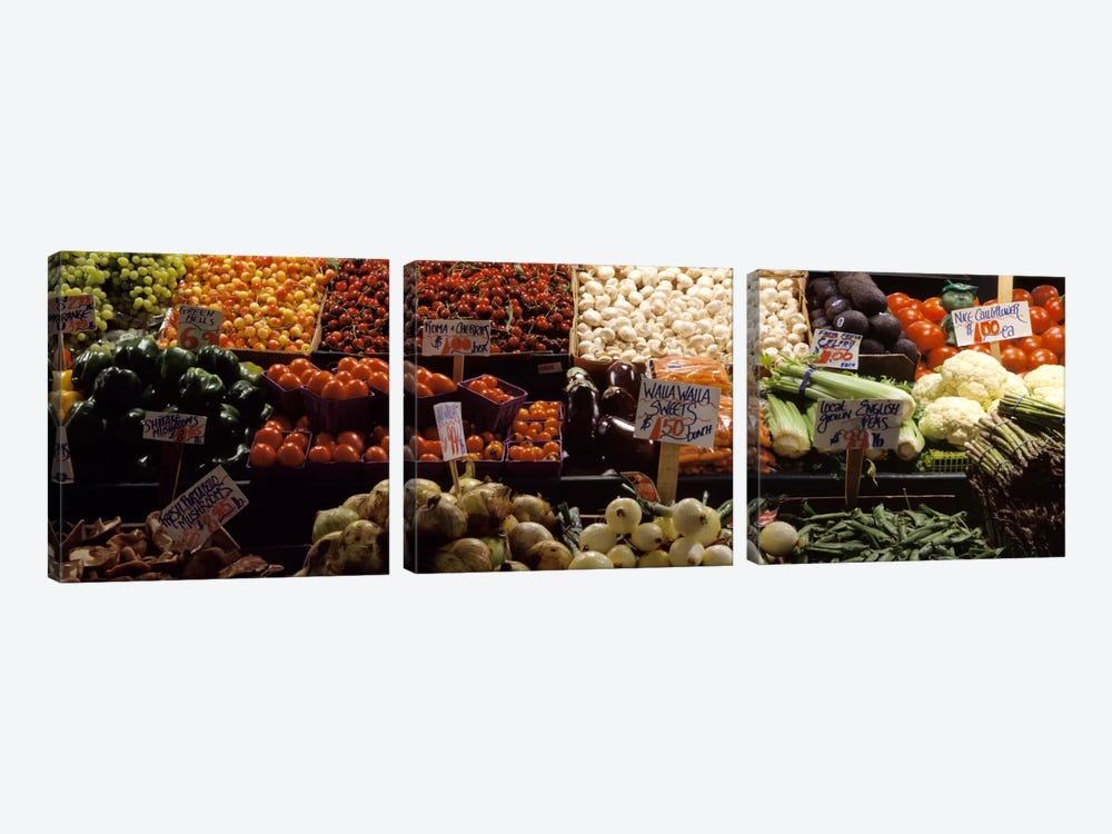 Fruits and vegetables at a market stall, Pike Place Market, Seattle, King County, Washington State, USA by Panoramic Images 3-piece Canvas Art Print