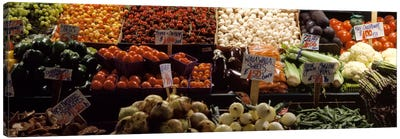 Fruits and vegetables at a market stall, Pike Place Market, Seattle, King County, Washington State, USA Canvas Art Print