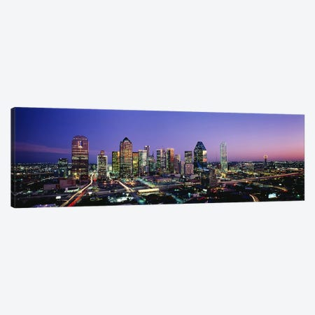 NightDallas, Texas, USA Canvas Print #PIM3223} by Panoramic Images Canvas Art