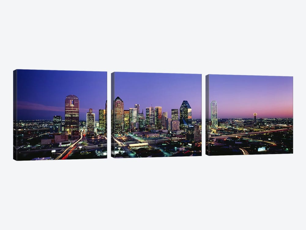 NightDallas, Texas, USA by Panoramic Images 3-piece Canvas Art