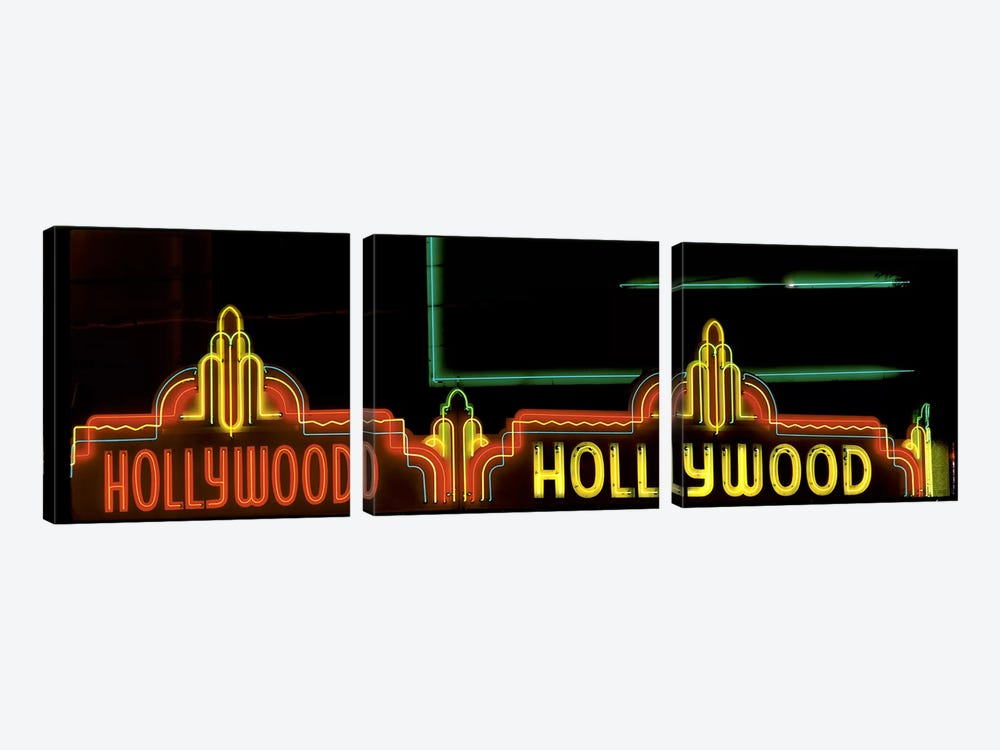 Hollywood Neon Sign Los Angeles CA by Panoramic Images 3-piece Canvas Print