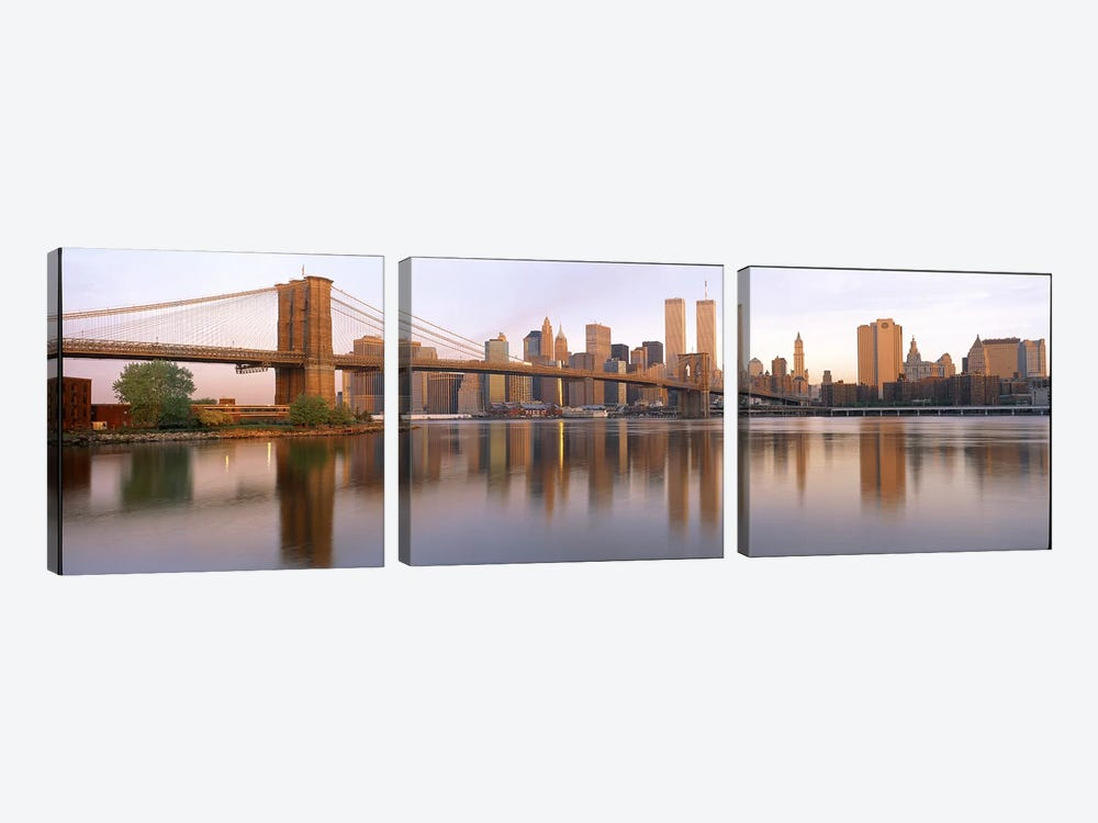 Brooklyn Bridge Manhattan New York City NY by Panoramic Images 3-piece Canvas Wall Art