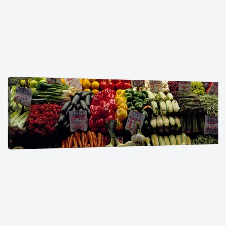 Fruits and vegetables at a market stall, Pike Place Market, Seattle, King County, Washington State, USA #2 Canvas Print #PIM322} by Panoramic Images Art Print