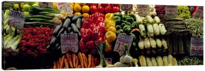 Fruits and vegetables at a market stall, Pike Place Market, Seattle, King County, Washington State, USA #2 Canvas Print #PIM322