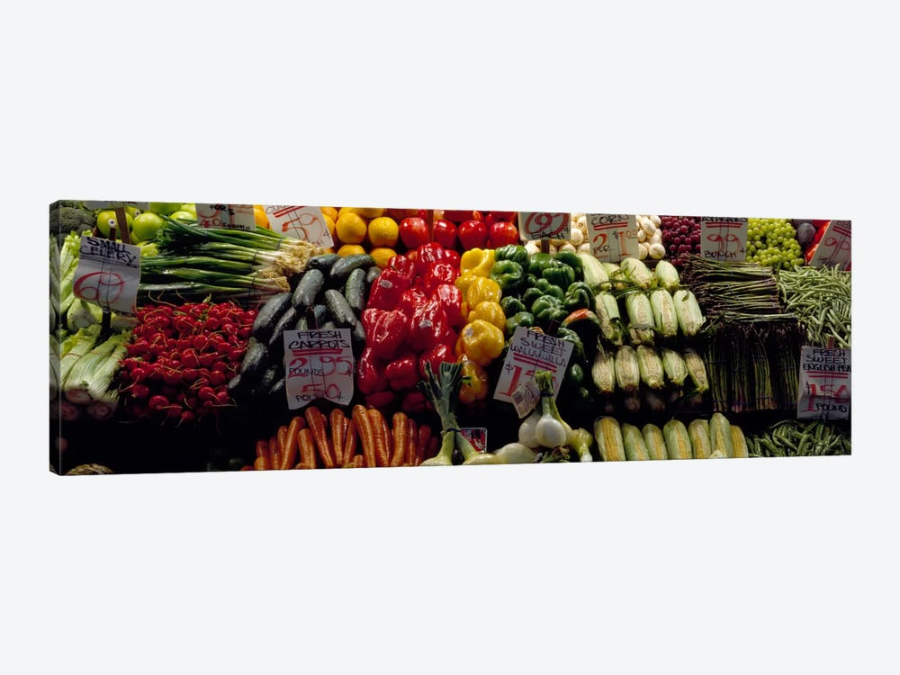 Fruits and vegetables at a market stall, Pike Place Market, Seattle, King County, Washington State, USA #2 by Panoramic Images 1-piece Canvas Art